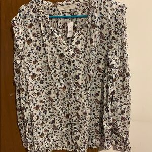 Loft long sleeve floral blouse